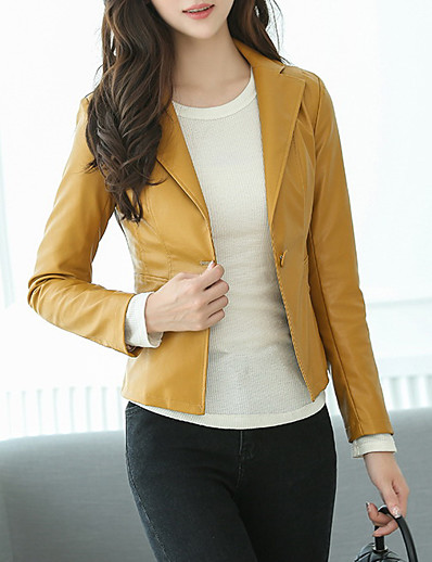 cheap Furs & Leathers-Women's Notch lapel collar Faux Leather Jacket Short Solid Colored Daily Black Yellow S M L / Work