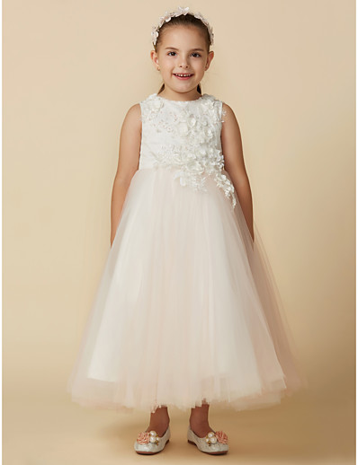 540968cab07 ADOR Princess Ankle Length Flower Girl Dress - Lace   Tulle Sleeveless Jewel  Neck with Appliques   Sash   Ribbon