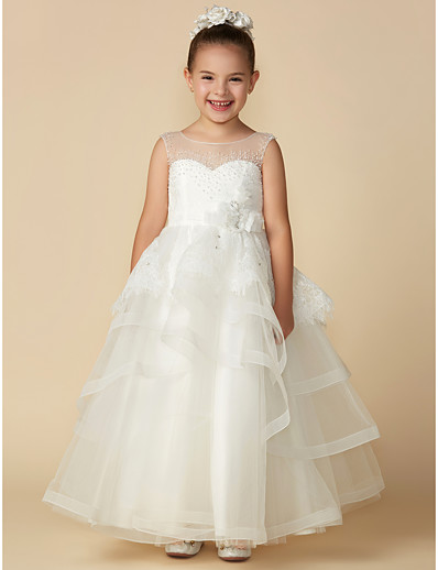 1e552489ea ADOR Princess Ankle Length Flower Girl Dress - Lace   Tulle Sleeveless  Illusion Neck with Beading   Bow(s)