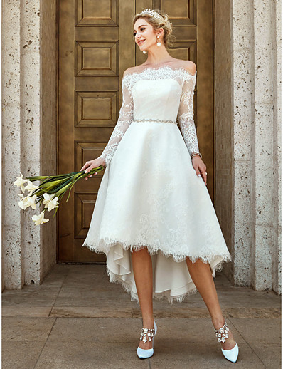 20c63ab8f1 ADOR A-Line Off Shoulder Asymmetrical Lace Wedding Dresses with Lace /  Crystal Brooch