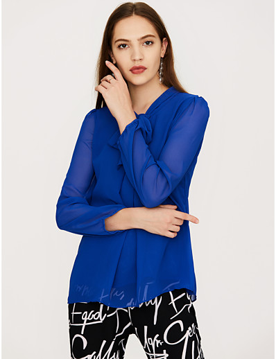 cheap Women's Clothing Sale-Women's Daily Going out Street chic Loose Blouse - Solid Colored Bow Fuchsia / Spring / Summer / Lace up
