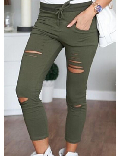 cheap Women's Pants-Women's Daily Chinos Pants Solid Colored White Black Wine Army Green