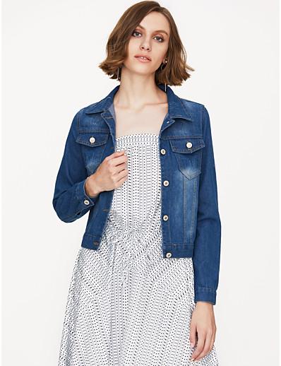 cheap Plus Size Outerwear-Women's Solid Colored Streetwear Spring &  Fall Denim Jacket Short Daily Long Sleeve Denim Coat Tops Blue