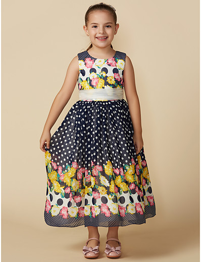 f3cdfd7c905 ADOR A-Line Tea Length Flower Girl Dress - Chiffon Sleeveless Jewel Neck  with Pattern   Print   Belt