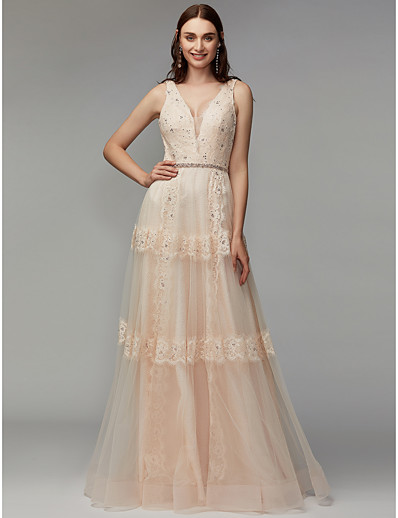 aaca609ecd4 ADOR Prom Dress A-Line V Neck Floor Length Lace   Tulle with Beading    Appliques