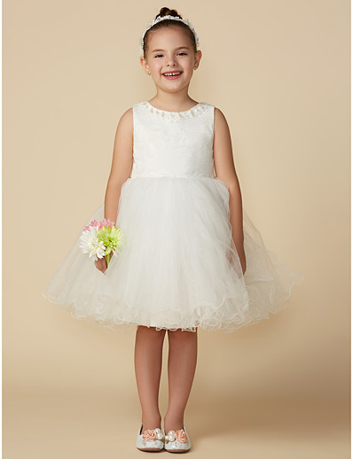 8a5fdbe5cc5 ADOR Princess Above Knee Flower Girl Dress - Lace   Tulle Sleeveless Jewel  Neck with Bows   Pearls   Belt