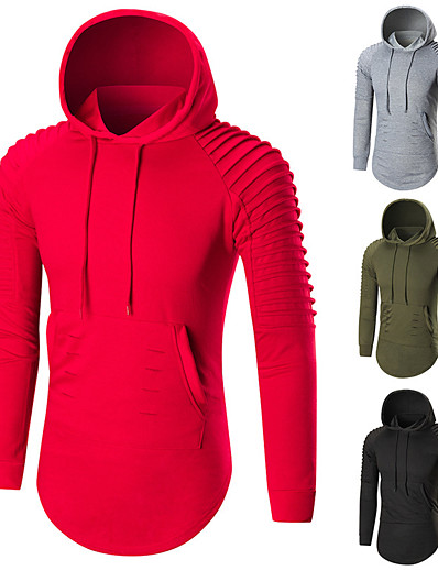 cheap Running, Jogging & Walking-Men's Long Sleeve Hoodie Sweatshirt Streetwear Hoodie Winter Breathable Soft Fitness Gym Workout Running Sportswear Solid Colored Plus Size Black Red Army Green Grey Activewear Stretchy