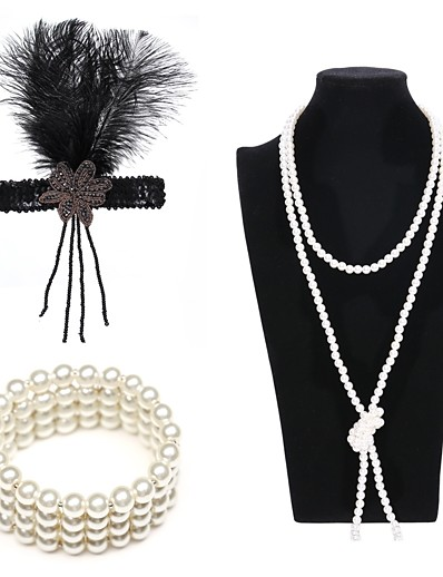 cheap Historical & Vintage Costumes-The Great Gatsby Charleston Vintage 1920s Costume Accessory Sets Flapper Headband Women's Artistic Style Costume Head Jewelry Pearl Necklace Slave Bracelet Black / Golden / White Vintage Cosplay