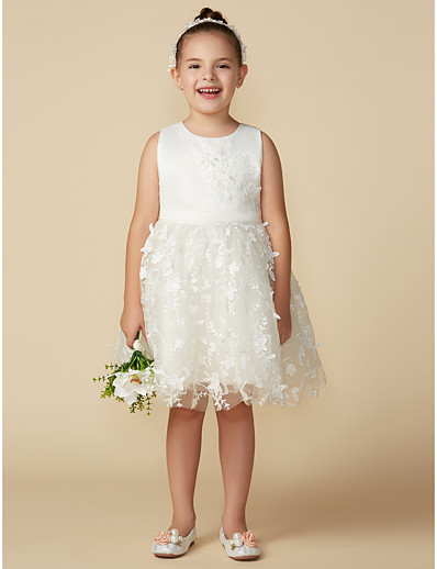 2343d93c00b8 ADOR Princess Knee Length Flower Girl Dress - Satin / Tulle Sleeveless  Jewel Neck with Bow(s) / Belt