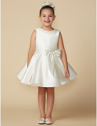 3faf8e3ceff ADOR Princess Above Knee Flower Girl Dress - Satin Sleeveless Jewel Neck  with Bows