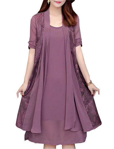 cheap Elegant Dresses-Women's Plus Size Daily Loose Two Piece Dress - Solid Colored Lace Spring Red Navy Blue Purple XXL XXXL XXXXL