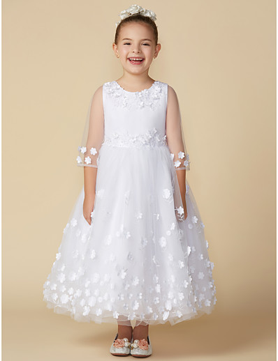 d6f1fb99f1 ADOR Princess Ankle Length Flower Girl Dress - Satin   Tulle Sleeveless    Long Sleeve Jewel Neck with Bow(s)   Flower
