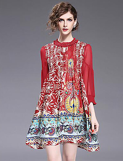 cheap Boho Dresses-Women's Going out / Weekend Basic / Chinoiserie Loose A Line / Swing Dress Rivet / Print Summer Red M L XL