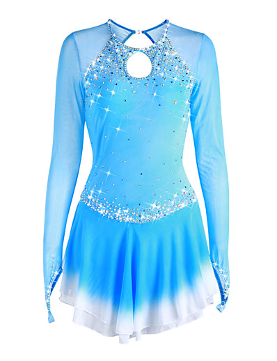 cheap Ice Skating-Figure Skating Dress Women's Girls' Ice Skating Dress Deep Blue Violet White Halo Dyeing Spandex High Elasticity Competition Skating Wear Handmade Solid Colored Long Sleeve Ice Skating Figure Skating