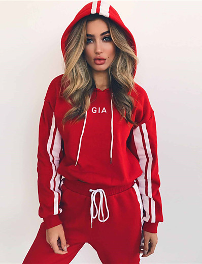 cheap Running, Jogging & Walking-Women's Tracksuit Sweatsuit Jogging Suit Casual Long Sleeve High Waist Cotton Breathable Comfortable Zumba Yoga Fitness Running Sportswear Stripes White Red Activewear Stretchy