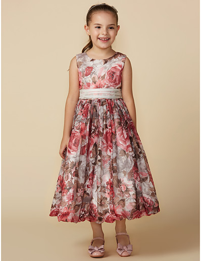 48371463478 ADOR A-Line Tea Length Flower Girl Dress - Chiffon Sleeveless Jewel Neck  with Pattern   Print   Sash   Ribbon
