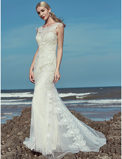 5e519753097 ADOR Mermaid   Trumpet Scoop Neck Floor Length Lace   Tulle Wedding Dresses  with Beading