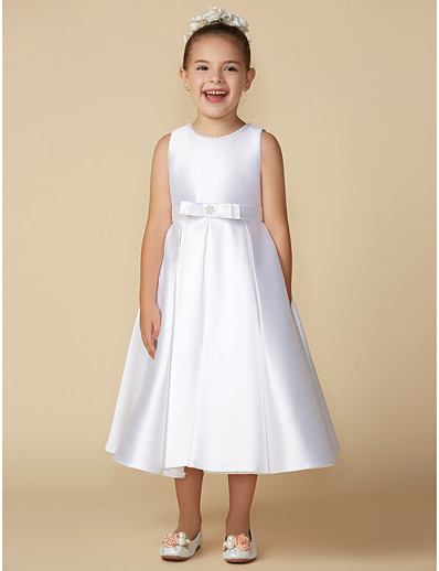988e0d5d32d0 ADOR Princess Tea Length Flower Girl Dress - Satin Sleeveless Jewel Neck  with Beading / Bow(s)