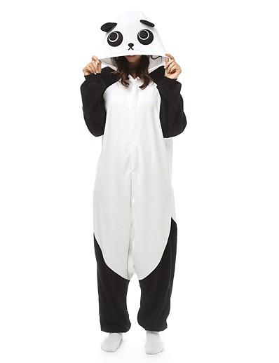 cheap Kigurumi Pajamas-Adults' Kigurumi Pajamas Nightwear Camouflage Panda Onesie Pajamas Polar Fleece Black / White Cosplay For Men's Women's Boys' Animal Sleepwear Cartoon Festival / Holiday Costumes / Couple's