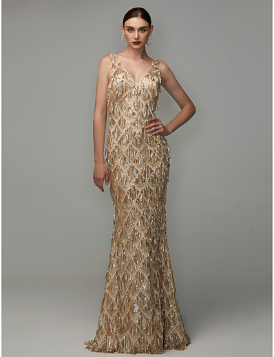 d225f6b3bd0e9 ADOR Evening Dress Sheath / Column V Neck Floor Length Sequined with Sequin  / Tassel