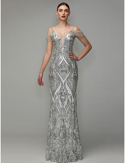 290aec36a93de Sheath / Column V Neck Floor Length Sequined Dress with Beading / Sequins  by Ador