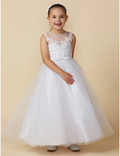 9346943bf2 ADOR Princess Ankle Length Flower Girl Dress - Lace   Tulle Sleeveless Boat  Neck with Bow(s)   Lace