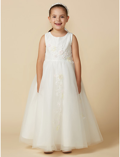 6596de05e15 ADOR Princess Ankle Length Flower Girl Dress - Lace   Tulle Sleeveless  Jewel Neck with Beading   Lace   Sash   Ribbon