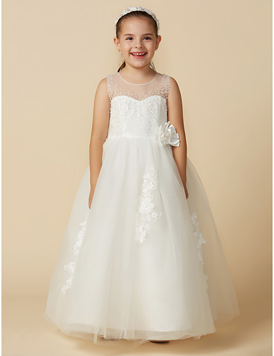 57606fad7fa ADOR Princess Ankle Length Flower Girl Dress - Lace   Tulle Sleeveless  Jewel Neck with Beading   Belt   Flower
