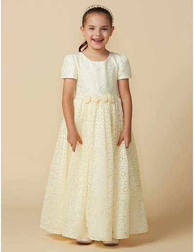 618075d73dd ADOR A-Line Ankle Length Flower Girl Dress - Lace Short Sleeve Jewel Neck  with Lace   Sash   Ribbon