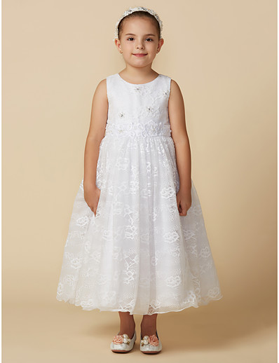 6b789639b98 ADOR Princess Ankle Length Flower Girl Dress - Lace Sleeveless Jewel Neck  with Beading   Appliques   Buttons