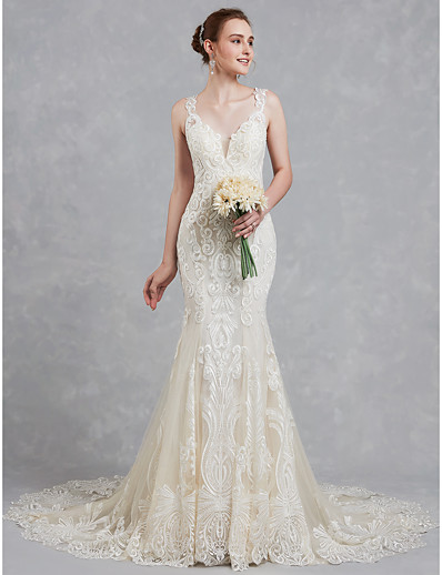 cb7ce1bdeba34 ADOR Mermaid / Trumpet V Neck Court Train Lace / Tulle Wedding Dresses with  Beading