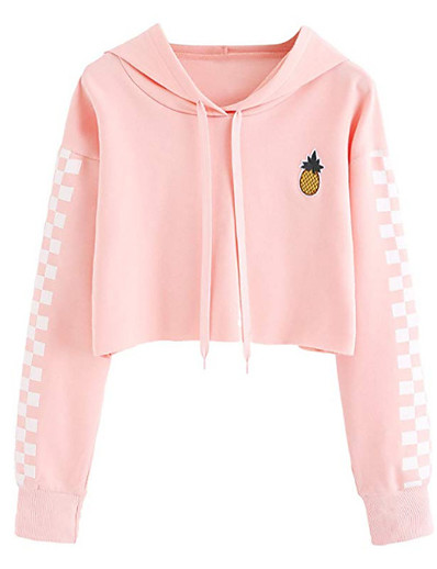 cheap Hoodies & Sweatshirts-Women's Cotton Hoodie - Solid Colored Pink XL