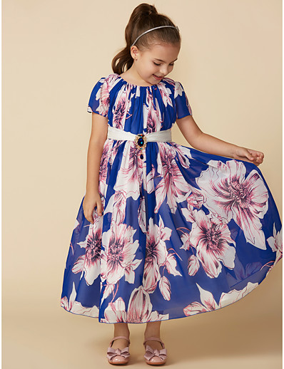 cdf39d81283 ADOR A-Line Tea Length Flower Girl Dress - Chiffon Short Sleeve Jewel Neck  with Sash   Ribbon   Crystal Brooch