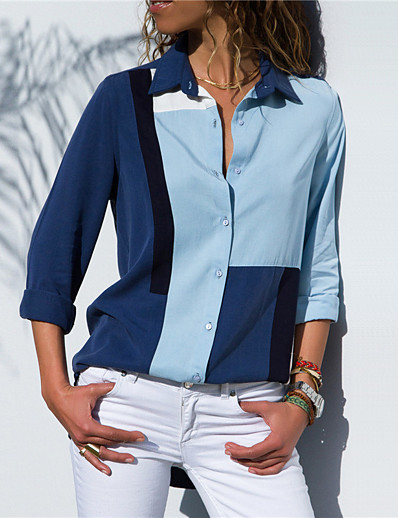 cheap TOPS-Women's Daily Street chic / Elegant Blouse - Color Block Patchwork Light Blue