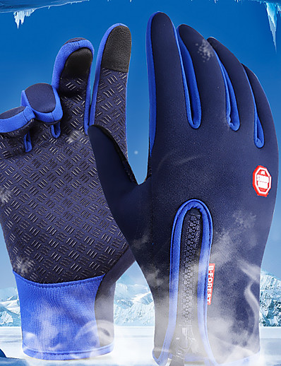cheap Cycling-Winter Bike Gloves / Cycling Gloves Ski Gloves Mountain Bike MTB Thermal / Warm Touch Screen Waterproof Windproof Full Finger Gloves Touch Screen Gloves Sports Gloves Fleece Silicone Gel Black Sky