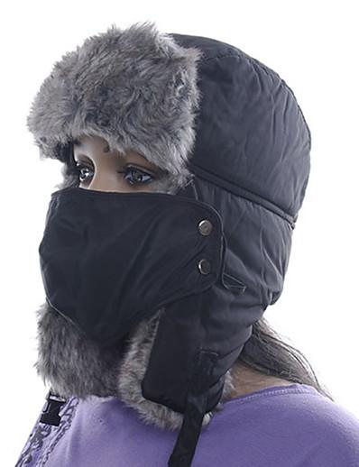 abordables Ski et Snowboard-Homme Femme Chapka Chapeau en Fourrure Sports d'hiver Chaud Polyester Masque de protection contre la pollution Chapeau Tenue de Ski / Hiver