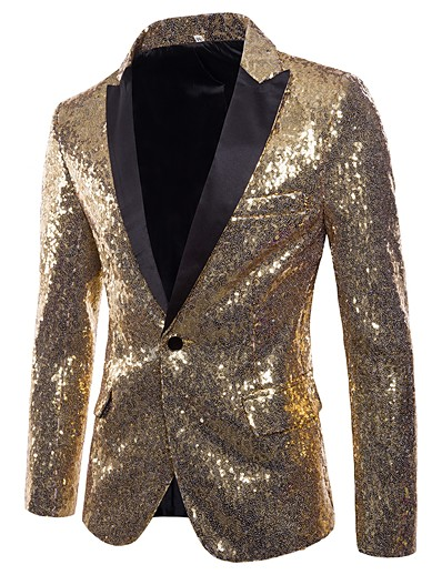 cheap Men's Outerwear-Men's Party / Club Basic / Punk & Gothic Winter / Fall & Winter Regular Blazer, Solid Colored V Neck Long Sleeve Polyester Sequins Silver / Red / Purple