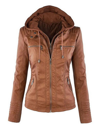 cheap OUTERWEAR-Women's Jacket Short Solid Colored Daily Basic Plus Size White Black Light Brown Brown XS S M L