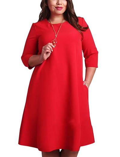 cheap Vintage Dresses-Women's Plus Size Daily Basic Shift Dress - Solid Colored Red Green Red XXXXL XXXXXL XXXXXXL