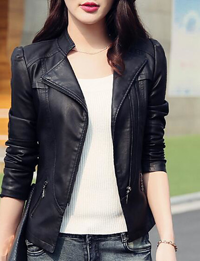 cheap DOWN TO $0.99-Women's Daily Basic Short Leather Jacket, Solid Colored Stand Long Sleeve PU Black