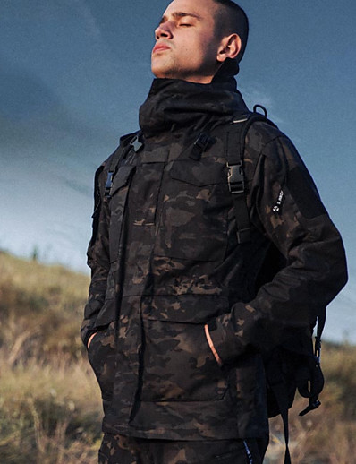 cheap Softshell, Fleece & Hiking Jackets-Men's Hiking Jacket Summer Outdoor Breathable Wear Resistance Camo / Camouflage Single Slider Coat Top Camping / Hiking Hunting Fishing Camouflage Rough Black Black Brown / Long Sleeve