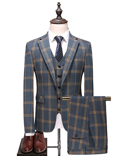 cheap Men's Outerwear-Men's Suits Peaked Lapel Plaid Regular Party Daily Fantastic Beasts Gray 50 / 60 / 54