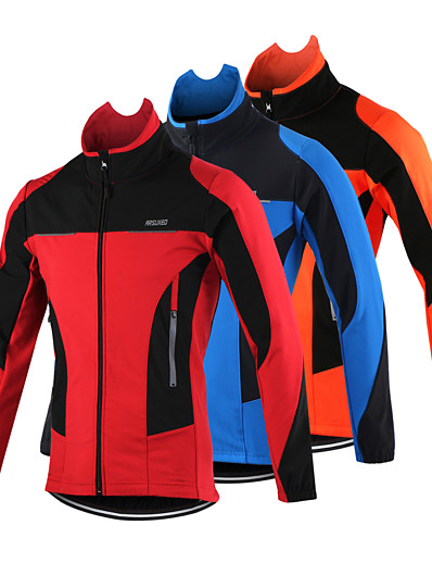 cheap Cycling-Arsuxeo Men's Fleece Cycling Jacket Bike Jacket Top UP Thermal Warm Windproof 15F Breathable Sports Polyester Spandex Fleece Winter Mountain MTB Road Bike Cycling Clothing