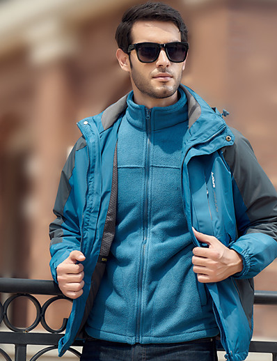 cheap Softshell, Fleece & Hiking Jackets-Men's Hoodie Jacket Hiking Jacket Winter Outdoor Wear Resistance Full Length Hidden Zipper 3-in-1 Jacket Ski / Snowboard Fishing Climbing Red Blue Grey Green Royal Blue / Long Sleeve