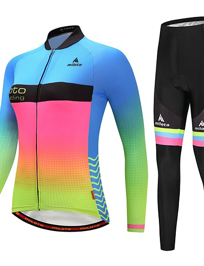 cheap Cycling-Miloto Women's Long Sleeve Cycling Jersey with Tights Cycling Jacket with Pants Blue+Yellow Luminous Gradient Plus Size Bike Reflective Strips Back Pocket Winter Sports Fleece Gradient Mountain Bike