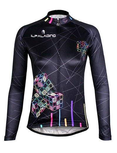 cheap Cycling-ILPALADINO Women's Long Sleeve Cycling Jersey Winter Fleece Elastane Black Bike Jersey Top Mountain Bike MTB Road Bike Cycling Thermal / Warm Fleece Lining Ultraviolet Resistant Sports Clothing