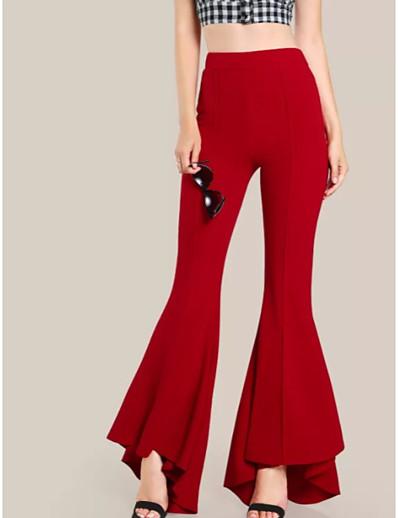 abordables Pantalons et Jupes Femme-Femme Chic de Rue Coton A Volants Pantalon Couleur Pleine Taille haute Noir Rouge Vert Véronèse