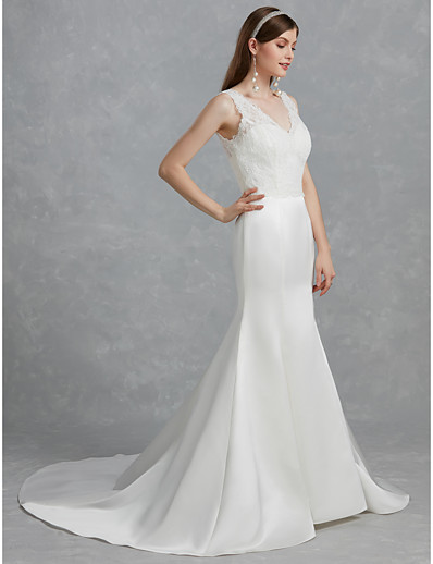 52387eea9 ADOR Mermaid / Trumpet V Neck Court Train Lace / Satin Wedding Dresses with  Lace