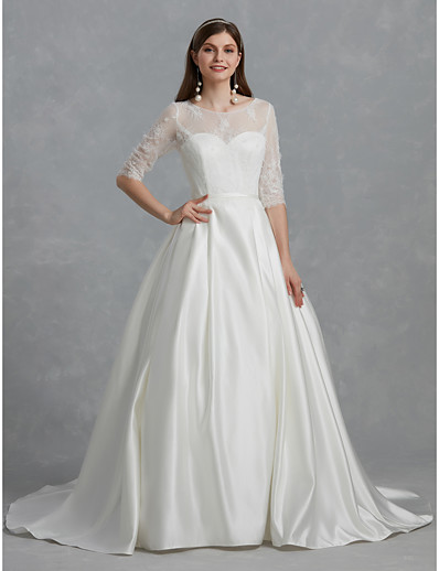 8eff888ff3c ADOR Ball Gown Bateau Neck Court Train Lace   Satin Wedding Dresses with  Lace   Sash   Ribbon