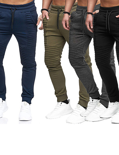 cheap SPORTSWEAR-Men's Running Pants Pocket Lace up Pants / Trousers Thermal / Warm Breathable Stripes Dark Grey Black Army Green Nylon Gym Workout Running Fitness Plus Size Sports Activewear Stretchy Regular Fit